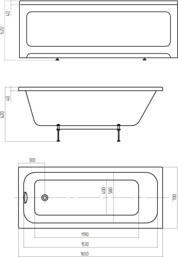 Акриловая ванна Акватек Мия 165 см