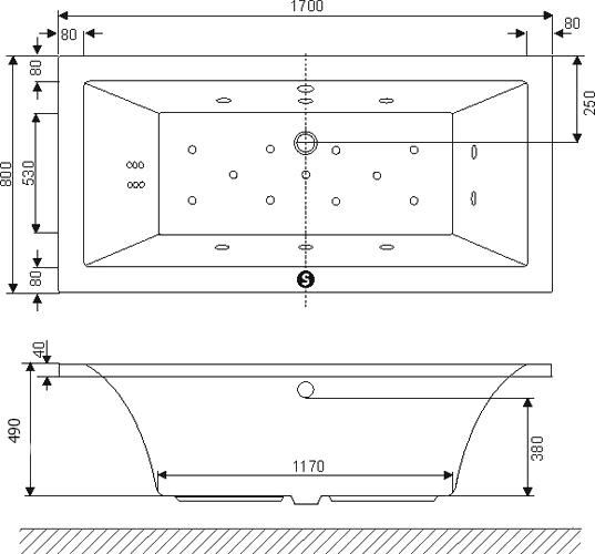 Акриловая ванна Excellent Pryzmat Lux 170x80
