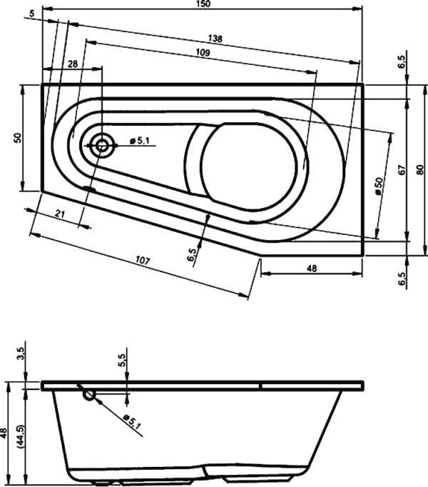 Акриловая ванна Riho Delta 150 L