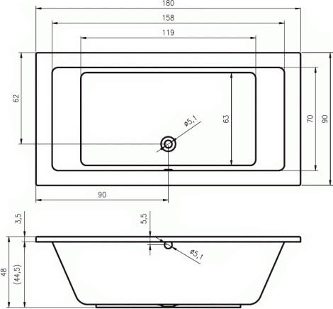 Акриловая ванна Riho Lusso 180x90