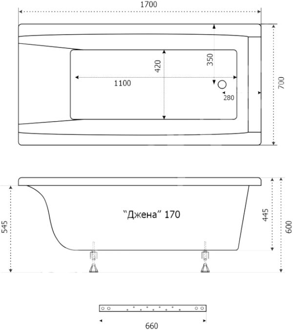 Акриловая ванна Triton Джена 170