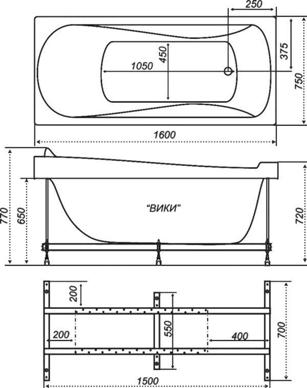 Акриловая ванна Triton Вики