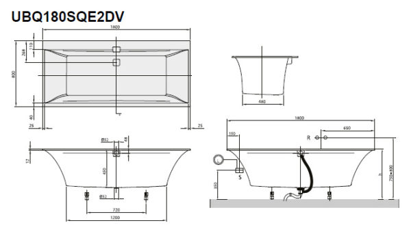 Акриловая ванна Villeroy & Boch Squaro Edge 12 UBQ180SQE2DV-01 alpin