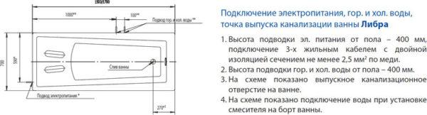 Акриловая ванна Акватек Либра 170 см