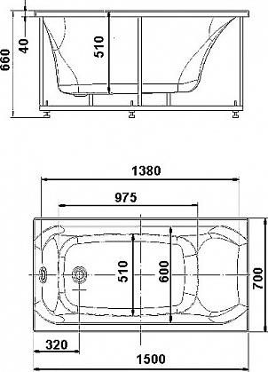 Акриловая ванна Акватек Альфа 150 см