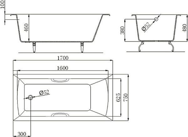 Чугунная ванна Castalia Prime 170x75x48 с ручками