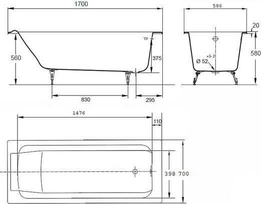 Чугунная ванна Jacob Delafon Parallel E2948 с ручками