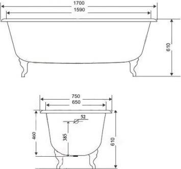 Чугунная ванна Timo Standard 3V 170x75 с ручками
