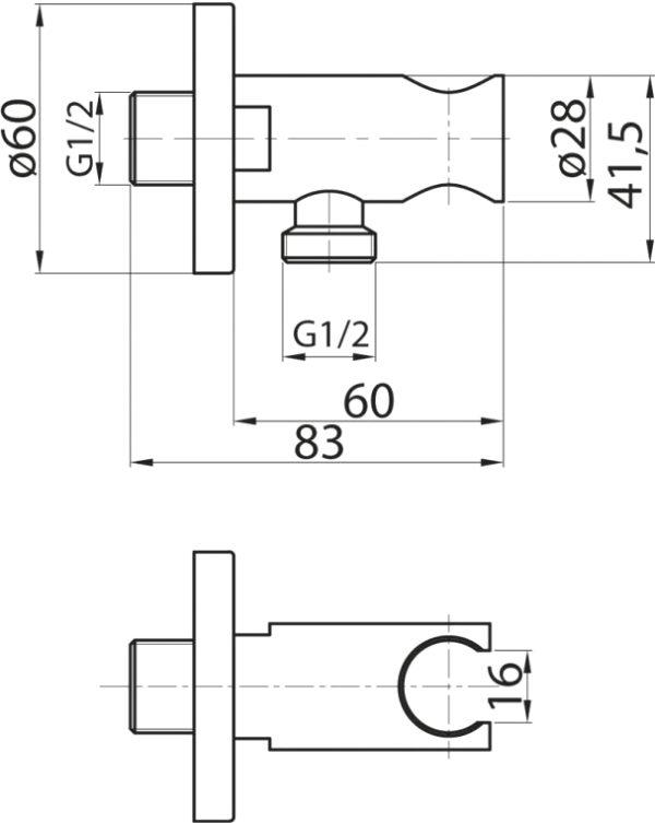 Шланговое подключение Cezares CZR-AI13-01 держатель для душа