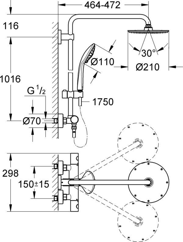 Душевая стойка Grohe Euphoria XXL System 210 27964000