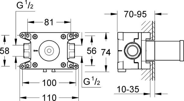 Шланговое подключение Grohe Grohtherm F 35034000 скрытая часть