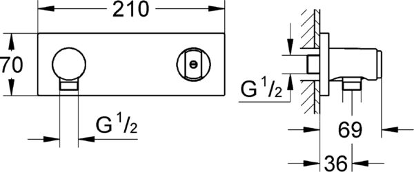 Шланговое подключение Grohe Grohtherm F 27621000 держатель для душа