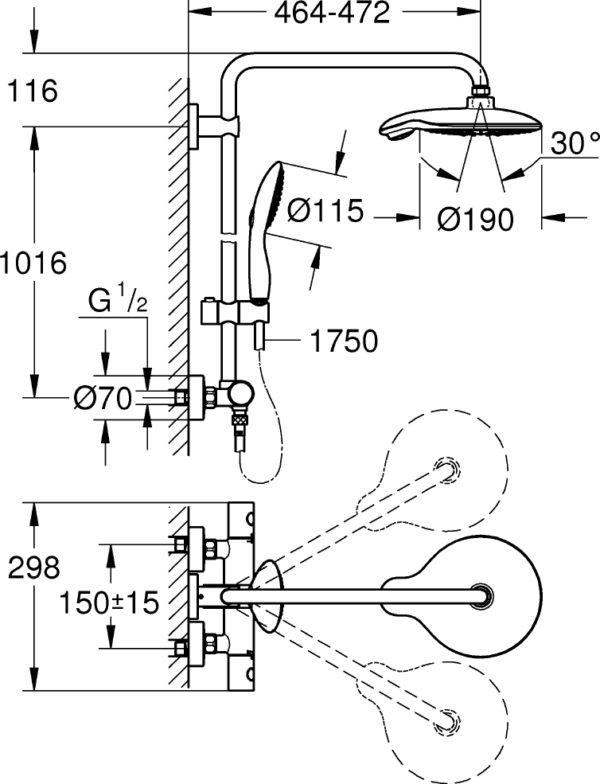 Душевая стойка Grohe Euphoria Power&Soul System 190