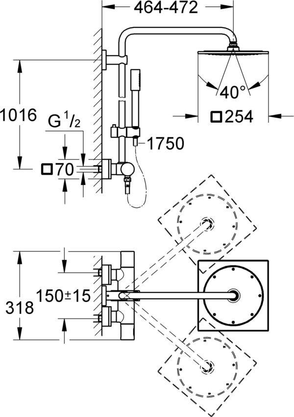 Душевая стойка Grohe Rainshower F-series System 10 27469000