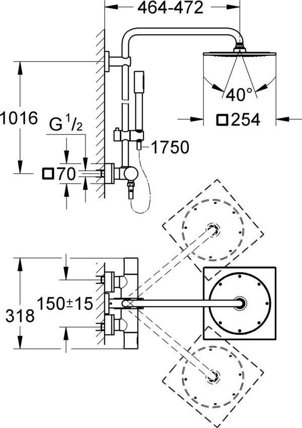 Душевая стойка Grohe Rainshower F-series System 10 27569000