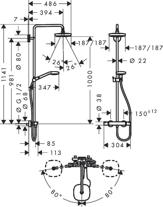 Душевая стойка Hansgrohe Croma Select E 180 27256400 с термостатом