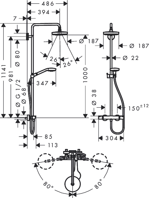 Душевая стойка Hansgrohe Croma Select S 180 2jet 27253400 с термостатом