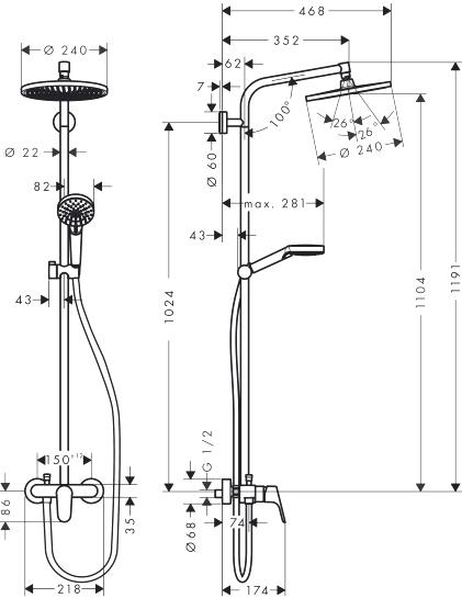 Душевая стойка Hansgrohe Crometta S 240 1jet Showerpipe EcoSmart 27269000 9 л