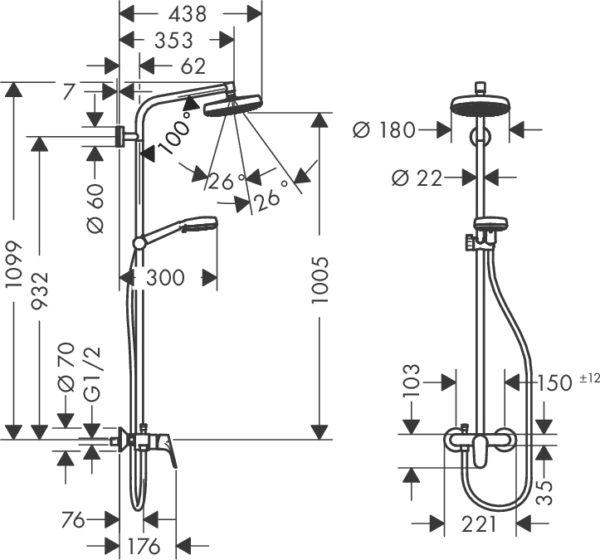 Душевая стойка Hansgrohe Crometta 160 1 Jet 27266400 с однорычажным смесителем
