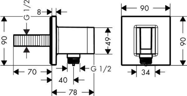 Шланговое подключение Hansgrohe Fixfit Porter Square 26486000 держатель для душа