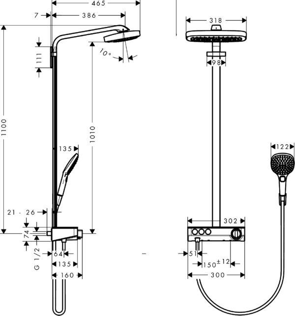 Душевая стойка Hansgrohe Raindance Select E 300 3jet 27127400 Showerpipe