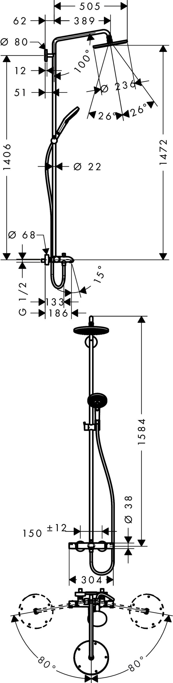Душевая стойка Hansgrohe Raindance Select S 240 27117000 Showerpipe