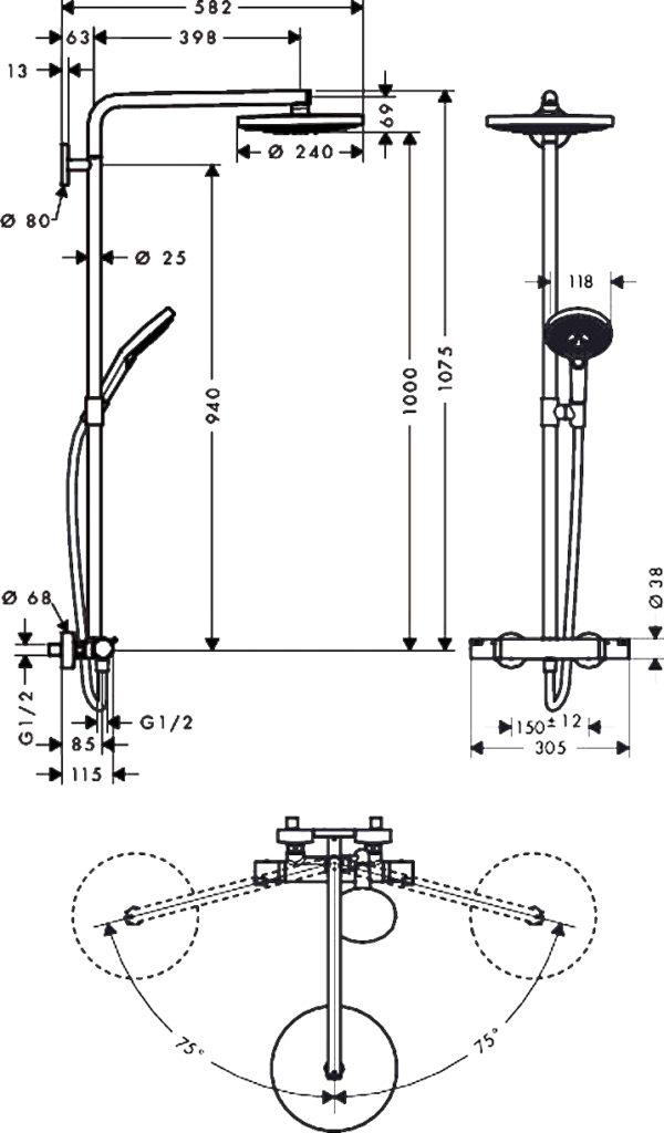 Душевая стойка Hansgrohe Raindance Select S 240 2jet 27129400 Showerpipe