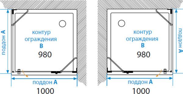 Душевой уголок Акватон Lax L квадратный 100х100 см