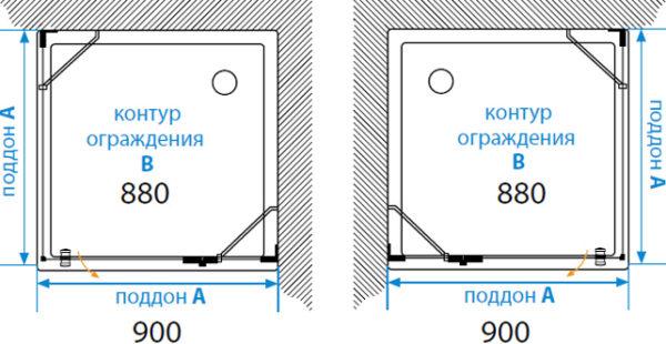 Душевой уголок Акватон Lax L квадратный 90х90 см
