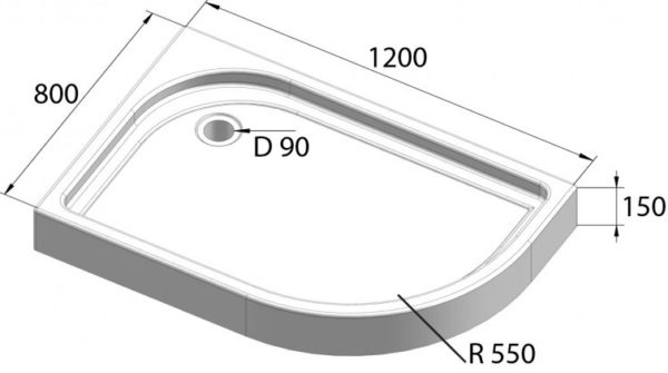 Поддон для душа BelBagno Tray 120х80 L R550