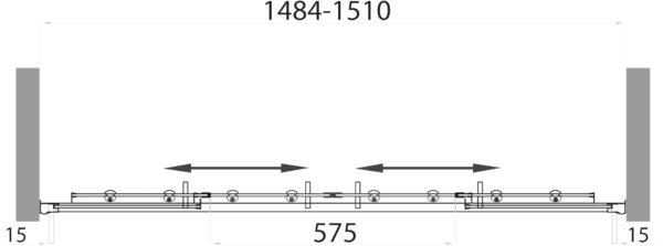 Шторка на ванну BelBagno Uno VF 2 150/145 C Cr