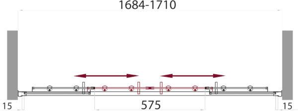 Шторка на ванну BelBagno Uno VF 2 170/145 C Cr
