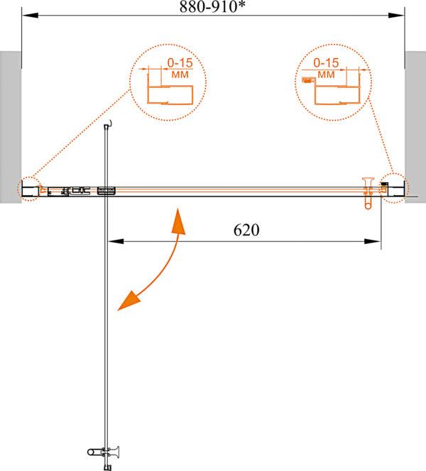Душевая дверь в нишу Cezares ECO-O-BA-1-90-C-Cr стекло прозрачное