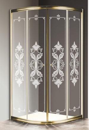 Душевой уголок Cezares Giubileo-R2-90 стекло с узором, золото