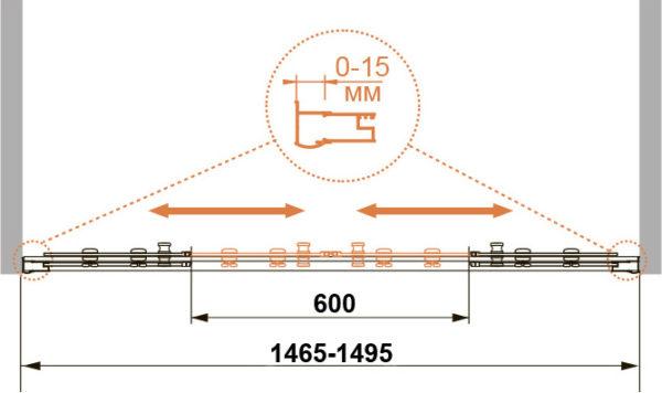 Шторка на ванну Cezares Pratico VF2 150/140 C Cr