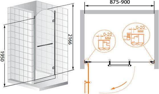 Душевая дверь в нишу Cezares Retro A B1 90 CP G R