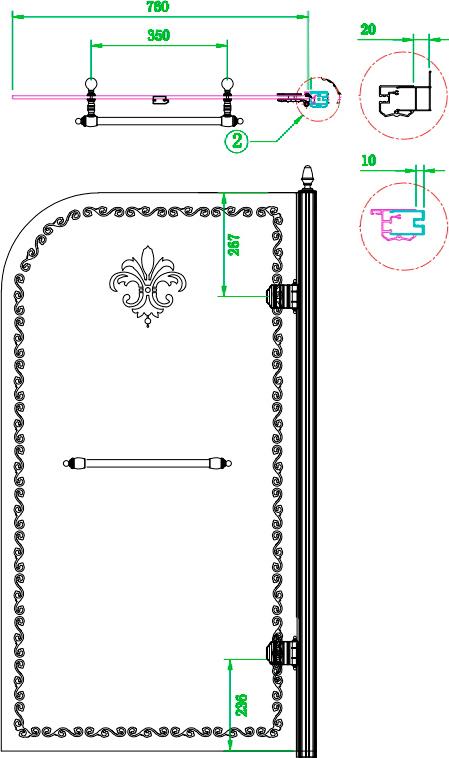 Шторка на ванну Cezares Retro V1 80/145 CP G R