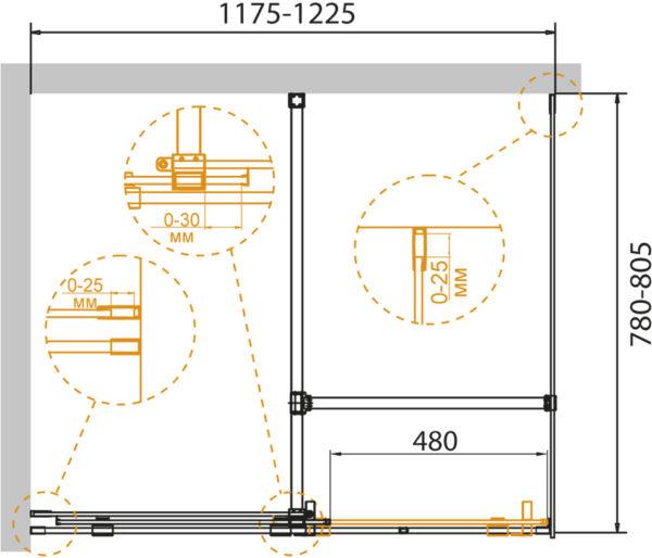 Душевой уголок Cezares Stream AH 1 120/80 C Cr