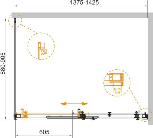 Душевой уголок Cezares Stylus Soft AH 1 140/90 C Cr