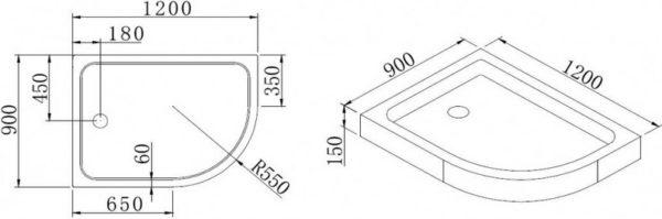 Поддон для душа Cezares Tray R550 120х100 см акриловый L