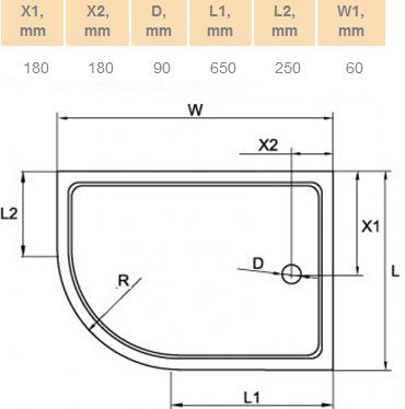 Поддон для душа Cezares Tray R550 120х80 см акриловый R