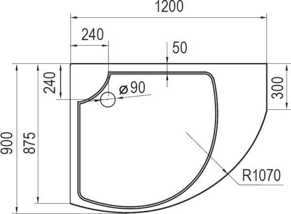 Поддон для душа Cezares Tray Triumph асимметричный R