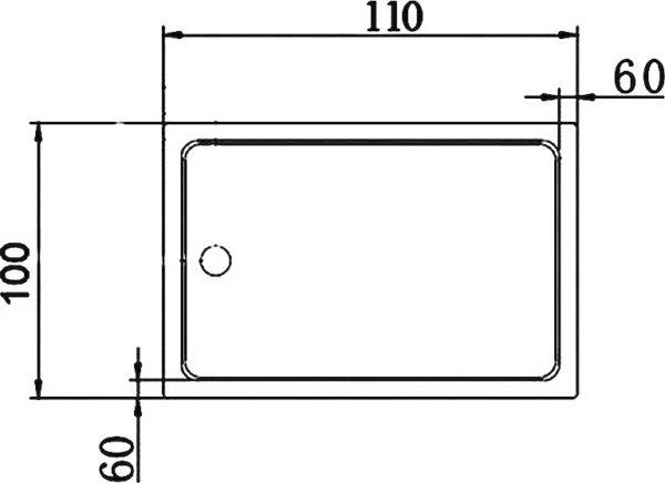 Поддон для душа Cezares Tray прямоугольный 110/100, акриловый
