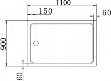 Поддон для душа Cezares Tray прямоугольный 110/90, акриловый