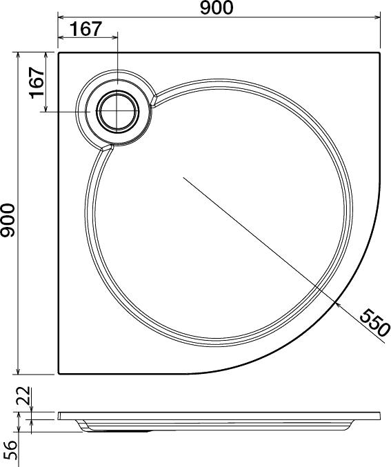 Поддон для душа Cezares Tray R 90-550 радиальный