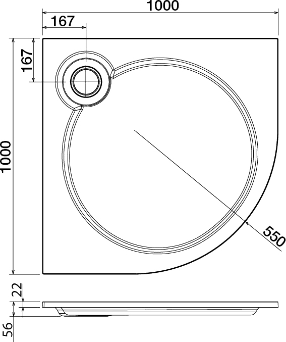 Поддон для душа Cezares Tray R 100-550 радиальный
