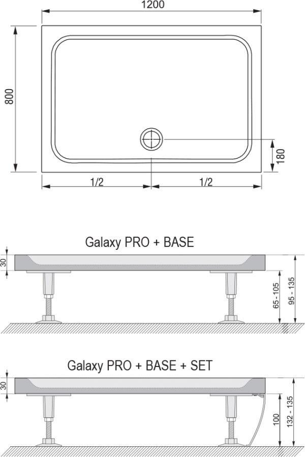 Поддон для душа Ravak Gigant Pro 120х80 Chrome