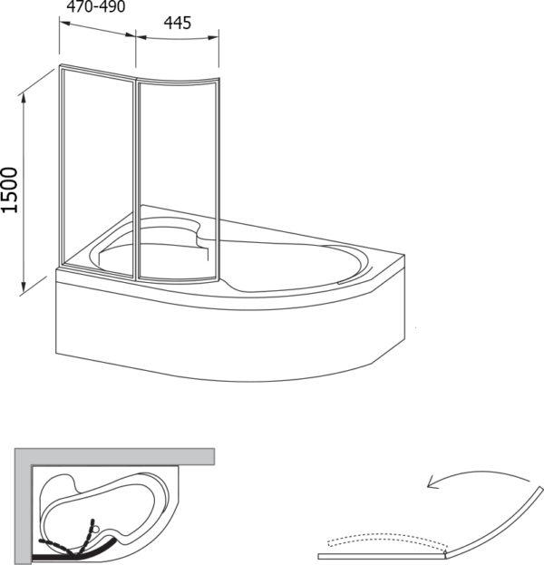 Шторка на ванну Ravak VSK2 Rosa 150 L Rain