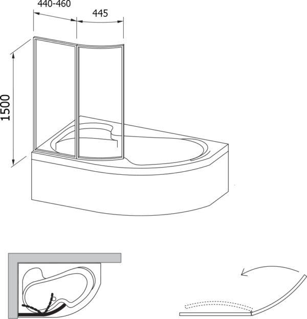 Шторка на ванну Ravak VSK2 Rosa 140 L Transparent