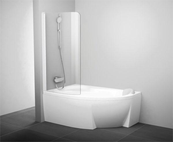 Шторка на ванну Ravak Rosa CVSK1 140/150 L Transparent, профиль белый